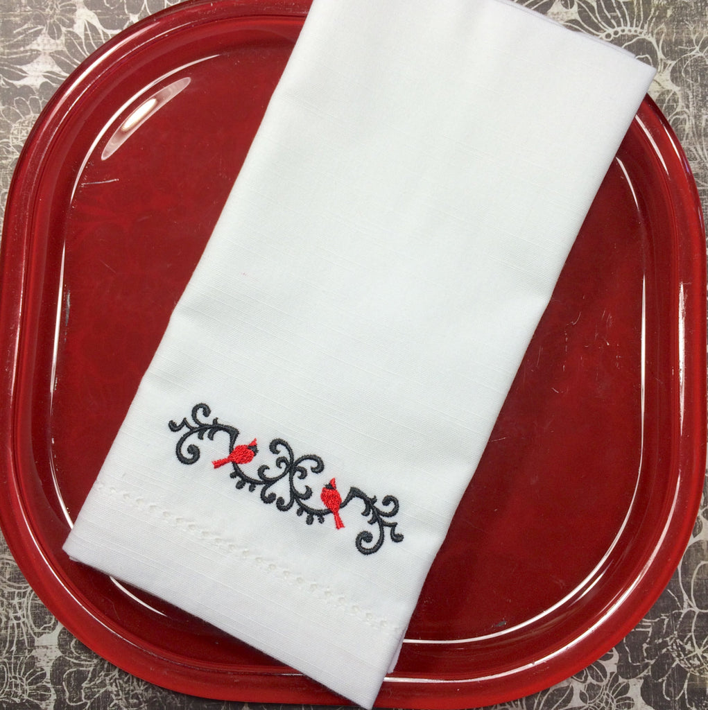 Wrought-Iron Cardinal Christmas Cloth Napkins - Set of 4 Christmas napkins-White Tulip Embroidery