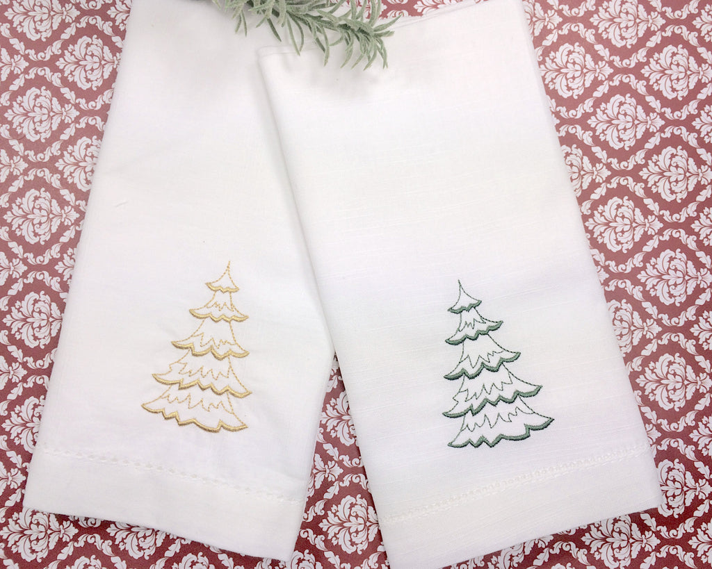 Christmas Tree Embroidered Cloth Napkins - Set of 4 napkins - White Tulip Embroidery