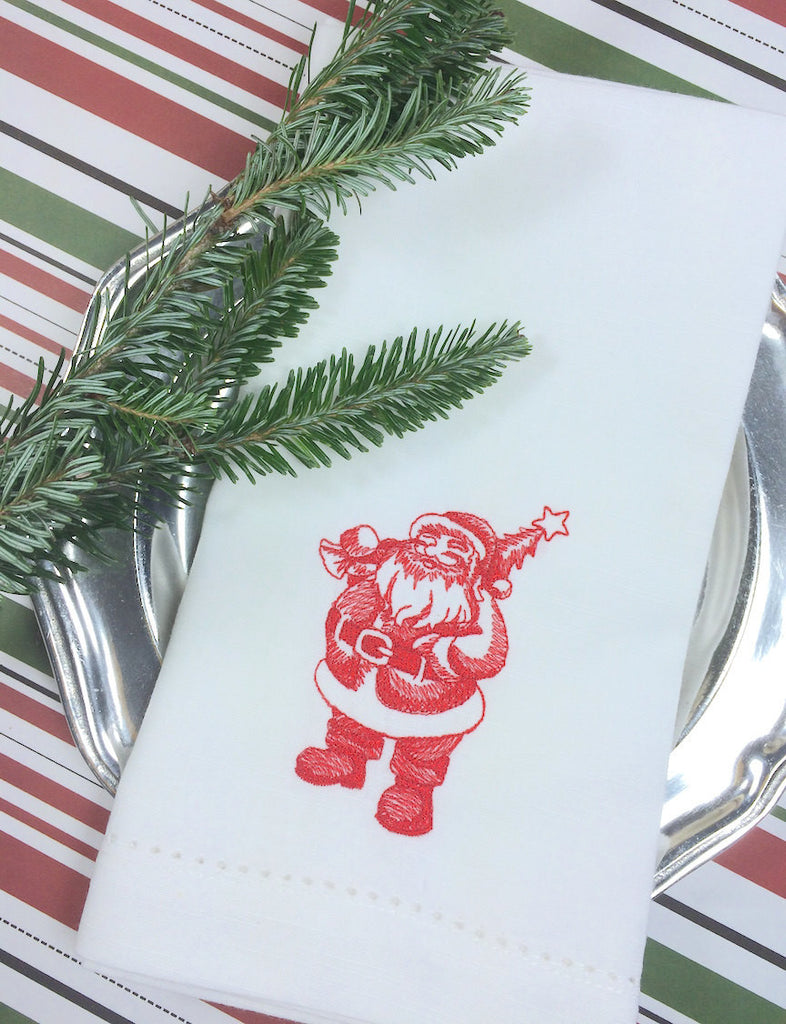 Santa Claus Victorian Christmas Embroidered Cloth Napkins - Set of 4 napkins - White Tulip Embroidery