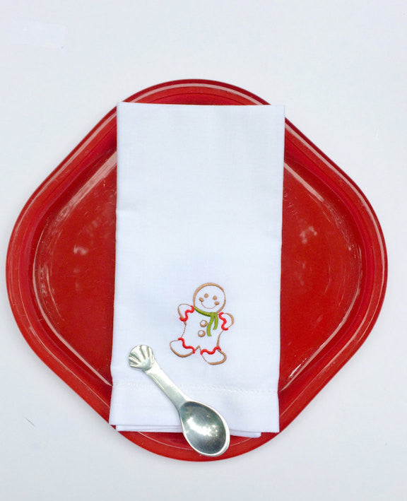 Gingerbread Cloth Napkins - Set of 4 Christmas napkins - White Tulip Embroidery