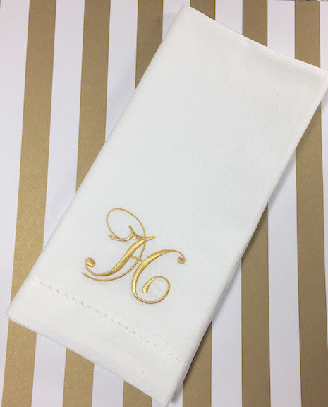 Set of 2 Bliss Monogrammed Cloth Dinner Napkins-White Tulip Embroidery