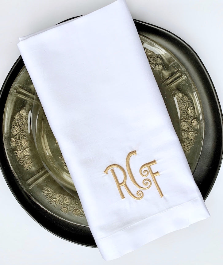 Isabel Monogrammed Cloth Napkins-White Tulip Embroidery