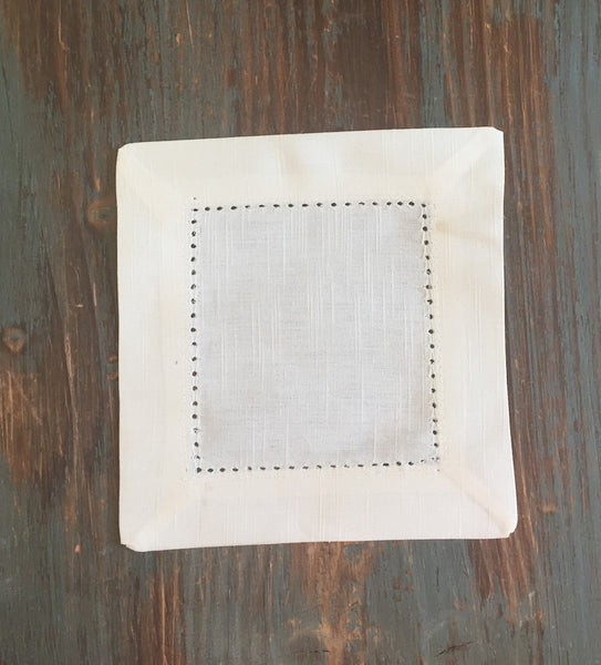 Monogrammed Ivory Cloth Cocktail Napkins - Wedding cocktail linens