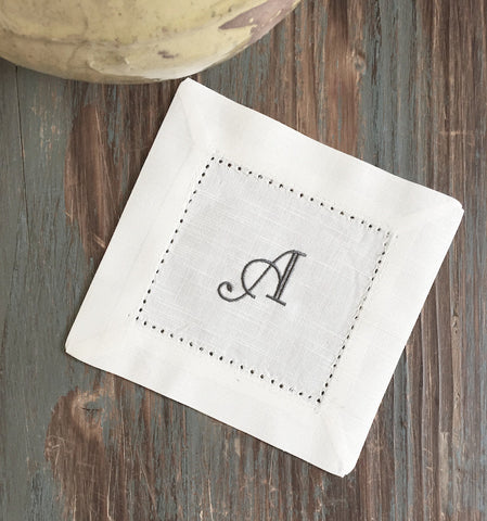 Monogrammed White Cocktail Napkins - Multiple fonts available