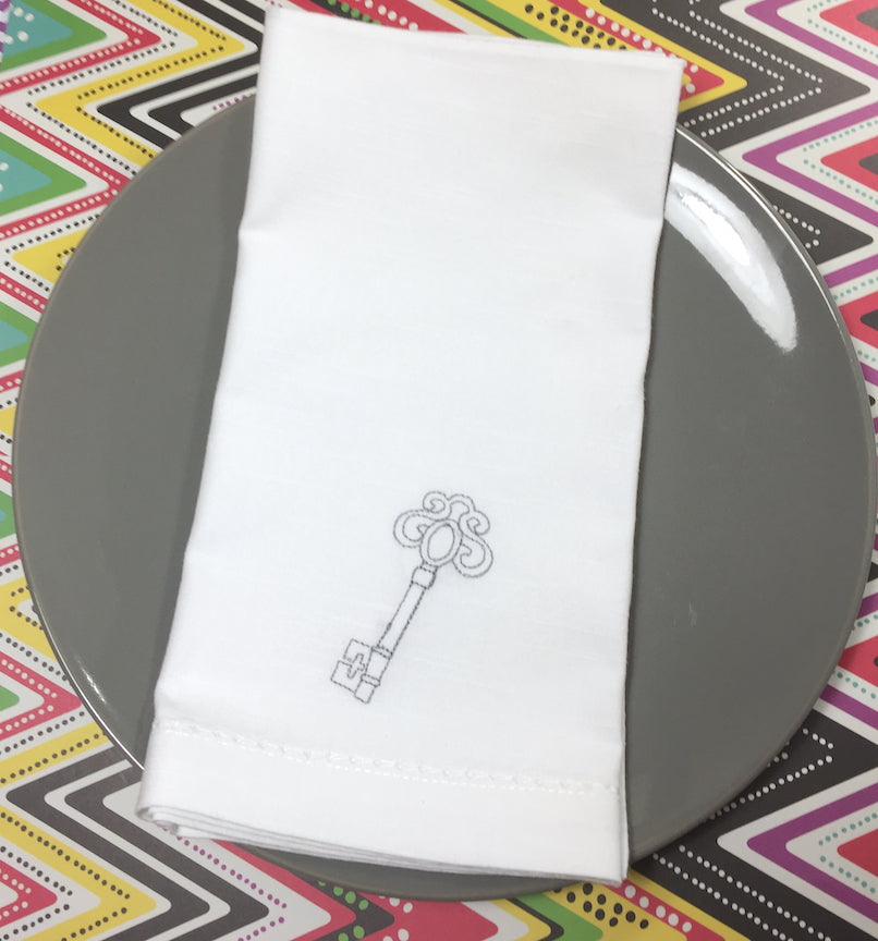 Key Embroidered Cloth Napkins - White Tulip Embroidery