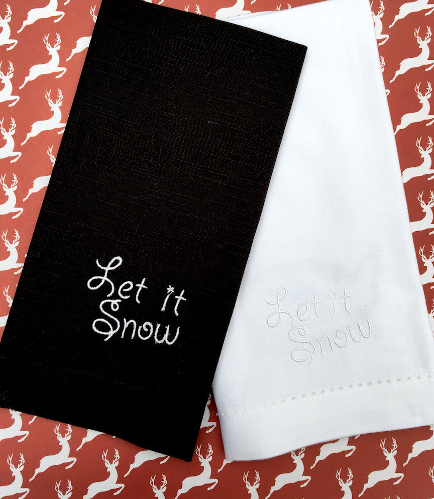 Let It Snow Cloth Napkins - Set of 4 Christmas napkins-White Tulip Embroidery