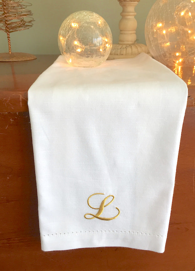 Lulu Monogrammed Embroidered Cloth Dinner Napkins - Set of 4 napkins - White Tulip Embroidery