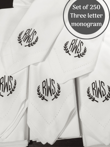 Custom Letter Bulk Monogrammed Wedding Napkins, Set of 250