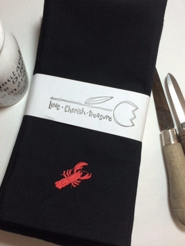 Lobster Embroidered Cloth Napkins - Set of 4 napkins - White Tulip Embroidery