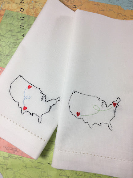 Love Map Embroidered Cloth Napkins - Set of 4 napkins - White Tulip Embroidery