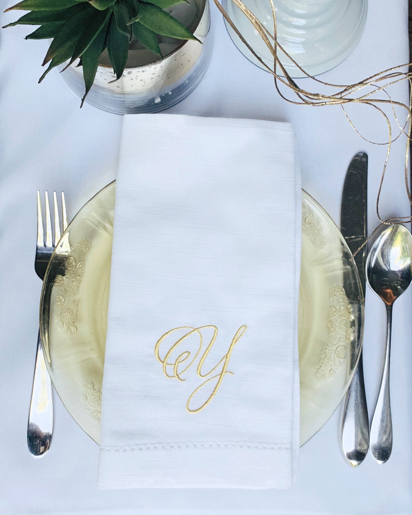 Margie Monogrammed Cloth Dinner Napkins - Set of 4 napkins-White Tulip Embroidery