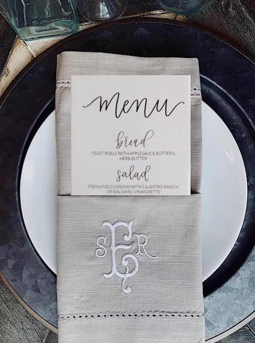 100 Bulk Monogrammed Cloth Napkins
