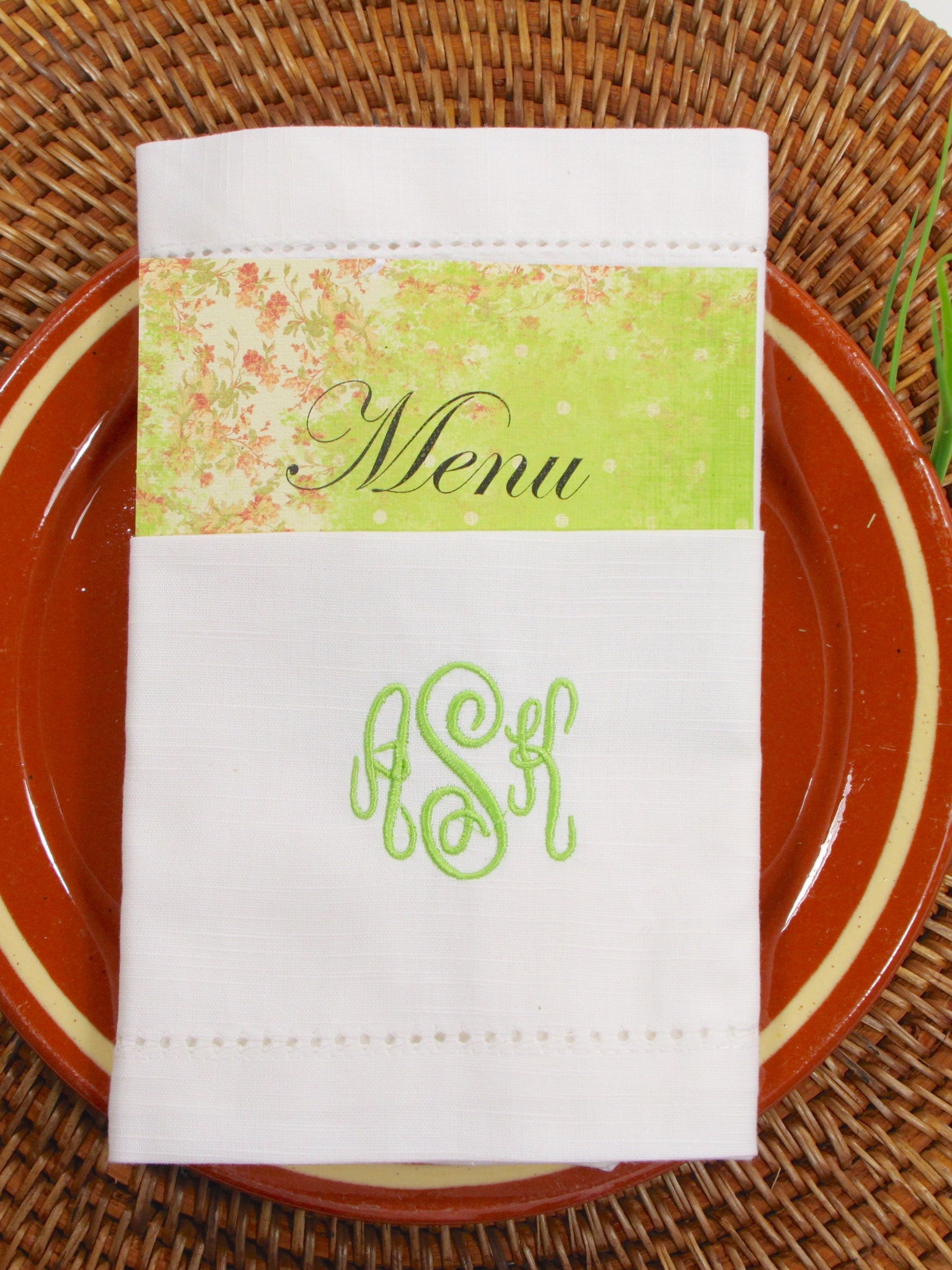 folded script wedding menu monogrammed embroidered cloth – white