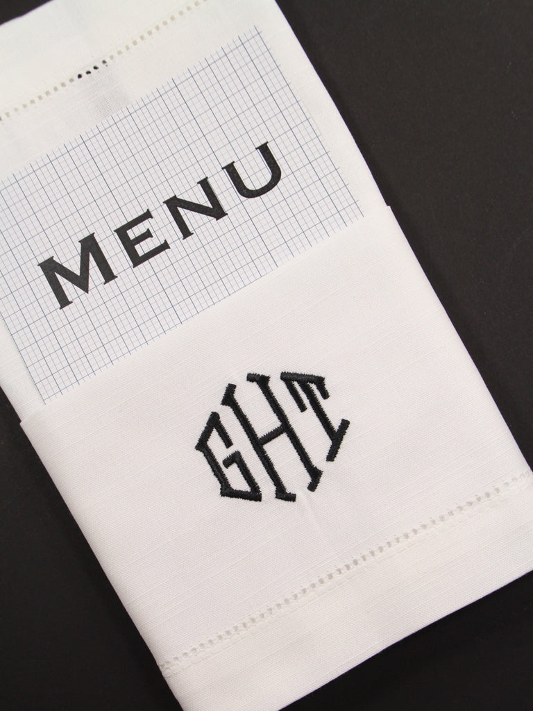 Wedding Menu Monogrammed Embroidered Cloth Dinner Napkins - Set of 4 napkins - White Tulip Embroidery