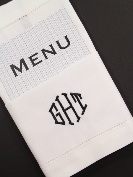 Wedding Menu Monogrammed Embroidered Cloth Dinner Napkins - Set of 4 napkins