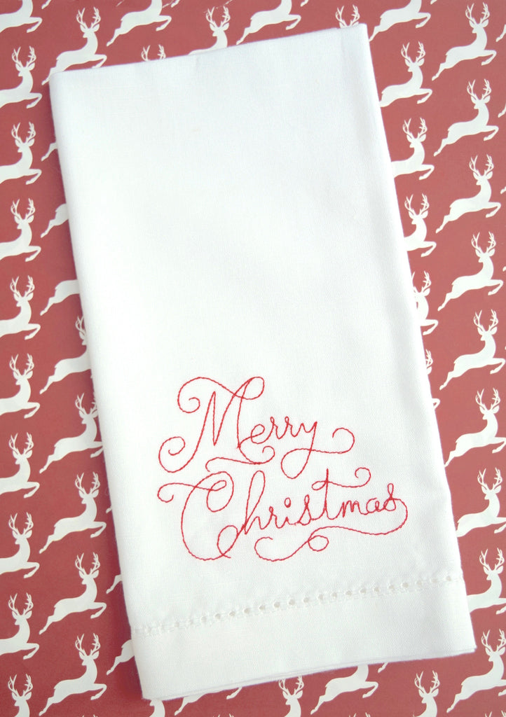 Merry Christmas Cloth Dinner Napkins - Set of 4 Christmas napkins-White Tulip Embroidery