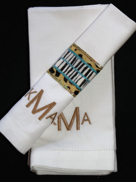 Modern Block Monogrammed Embroidered Cloth Napkins