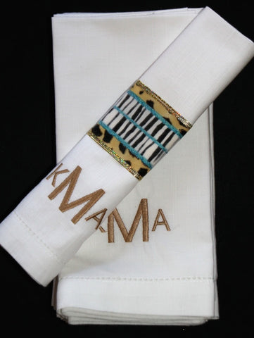 Modern Block Monogrammed Embroidered Cloth Napkins - White Tulip Embroidery