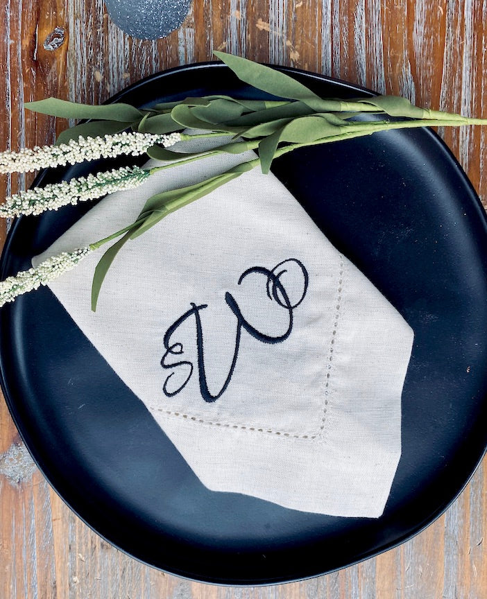 Monogrammed Embroidered Cloth Napkins - Set of 4 napkins-Moira Font