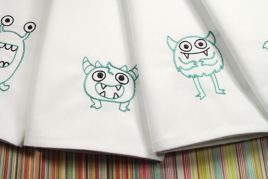 Monster Lunch Embroidered Cloth Napkins - Set of 4 napkins - White Tulip Embroidery