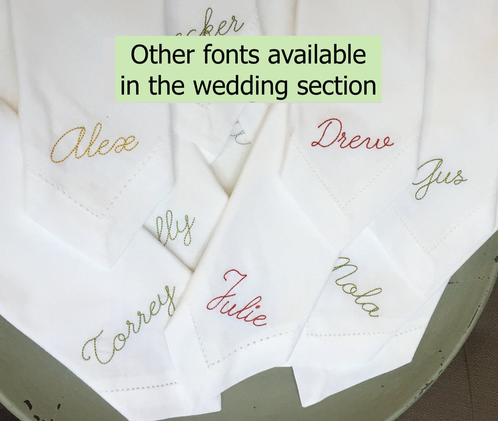 Personalized Wedding Party Monogrammed Name Napkins, Set of 6 names napkins-White Tulip Embroidery