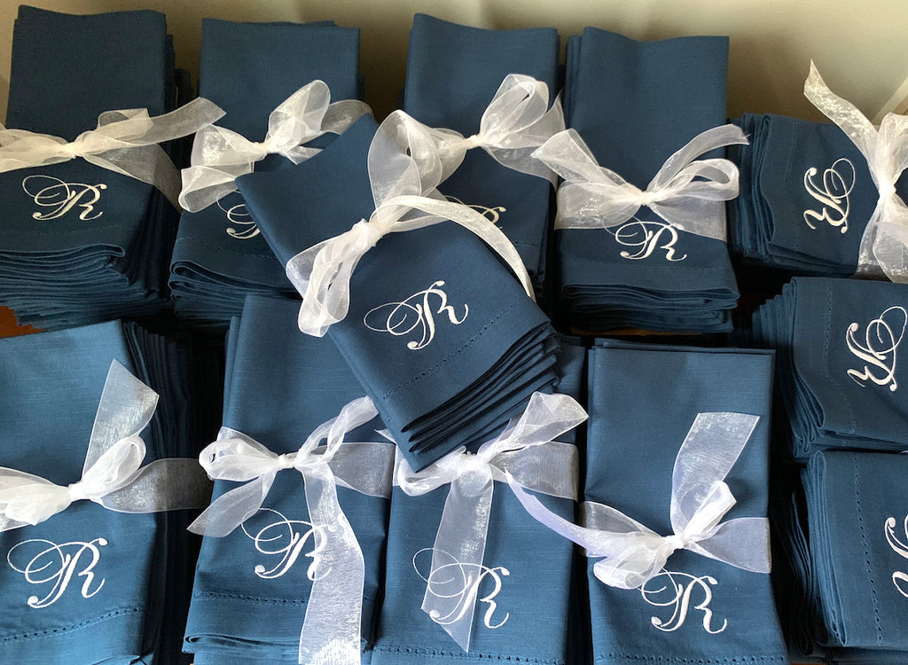 Large Order Monogrammed Wedding Napkins, Embroidered Dinner Napkins