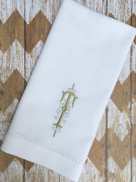 Elegant Monogrammed Cloth Napkins - Set of 4 dinner napkins - White Tulip Embroidery