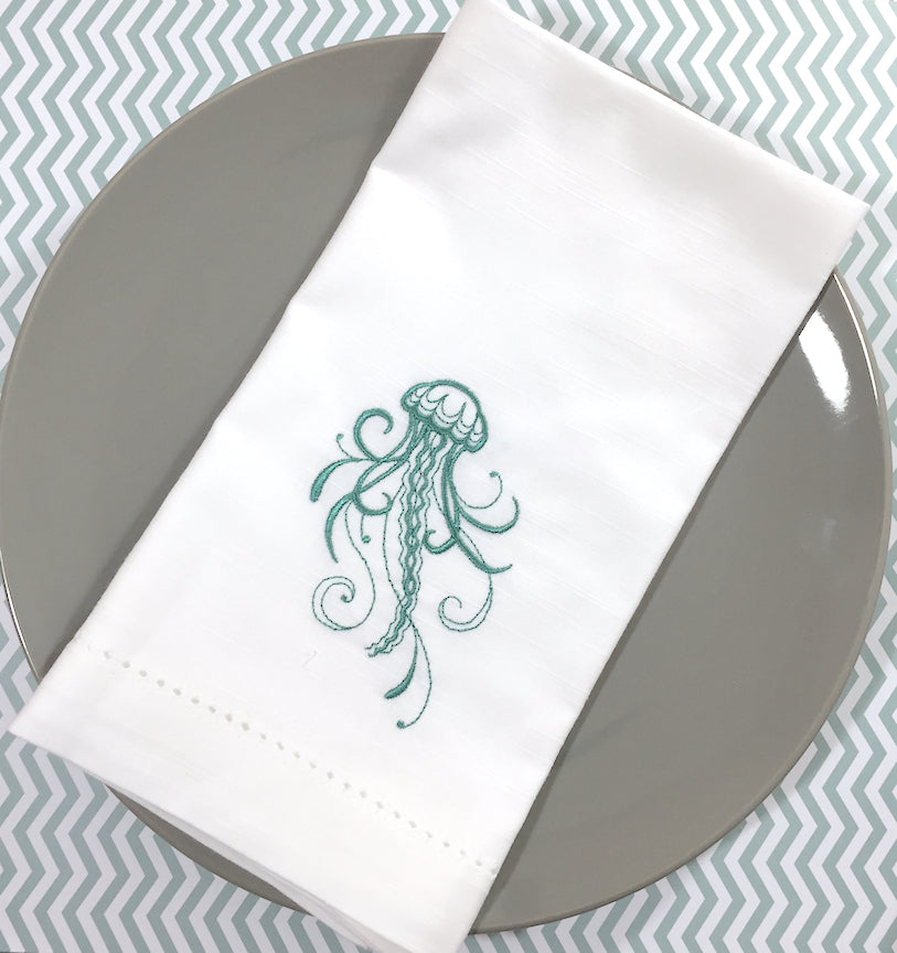 Octopus Embroidered Cloth Napkins - White Tulip Embroidery