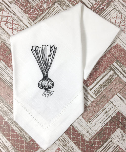 Spring Onion Embroidered Cloth Napkins, Set of 4 - White Tulip Embroidery