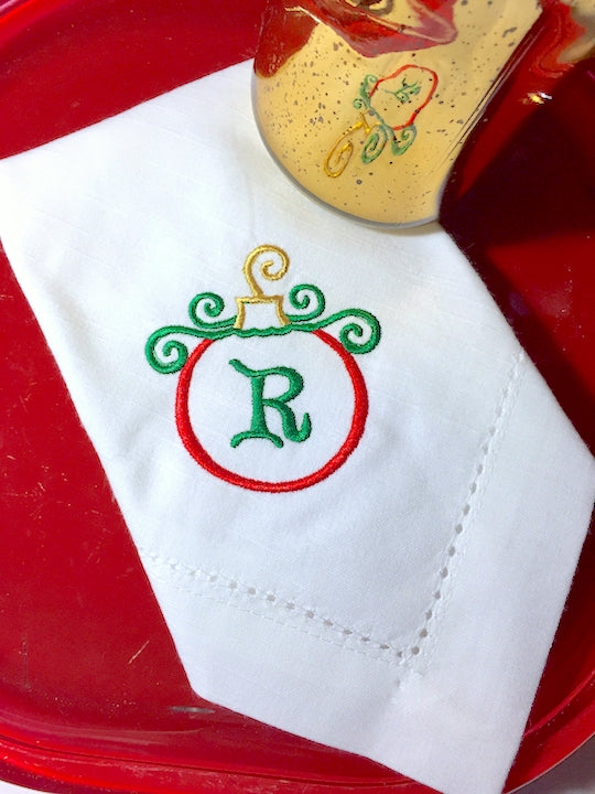 Monogrammed Christmas Ornament Embroidered Cloth Napkins-Set of 4 napkins-White Tulip Embroidery