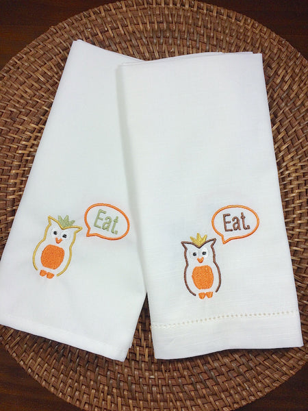 Eat. Owl Embroidered Cloth Napkins, owl napkins