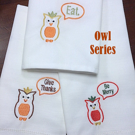 Give Thanks Owl Thanksgiving Embroidered Cloth Dinner Napkins - White Tulip Embroidery