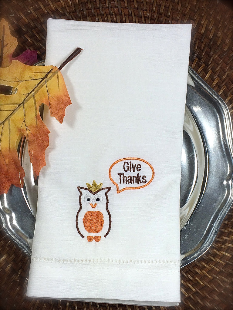 Give Thanks Owl Thanksgiving Embroidered Cloth Dinner Napkins-White Tulip Embroidery