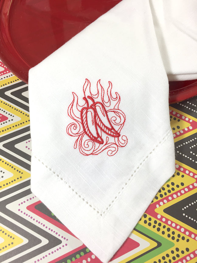 Hot Chili Peppers Embroidered Cloth Napkins - White Tulip Embroidery