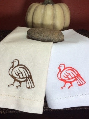 Thanksgiving Turkey Embroidered Cloth Dinner Napkins - Set of 4 napkins - White Tulip Embroidery