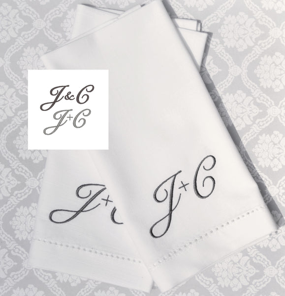 Ampersand monogrammed cloth napkins, plus sign initial cloth napkins, two initial ampersand cloth napkins, two letters cloth linens