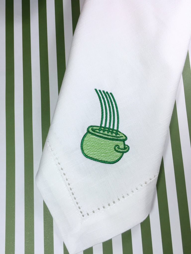 Pot of Gold St. Patrick's Day Cloth Napkins - Set of 4 napkins - White Tulip Embroidery