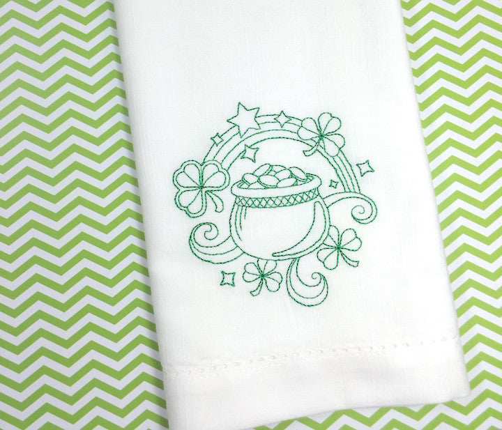 St. Patrick's Day Cloth Napkins Pot Of Gold  - Set of 4 napkins - White Tulip Embroidery