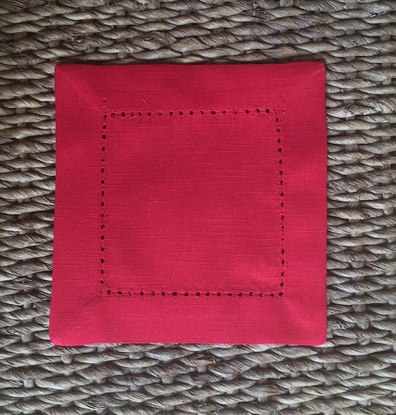 Monogrammed Red Cloth Cocktail Napkins - Wedding cocktail linens