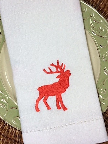 Majestic Reindeer Christmas Cloth Napkins - Set of 4 napkins - White Tulip Embroidery