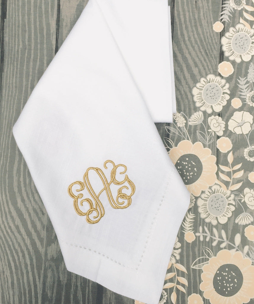 Royal Monogrammed Embroidered Cloth Napkins-White Tulip Embroidery
