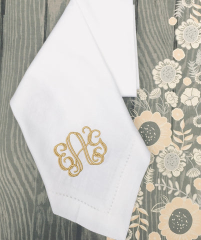 Royal Monogrammed Embroidered Cloth Napkins - White Tulip Embroidery