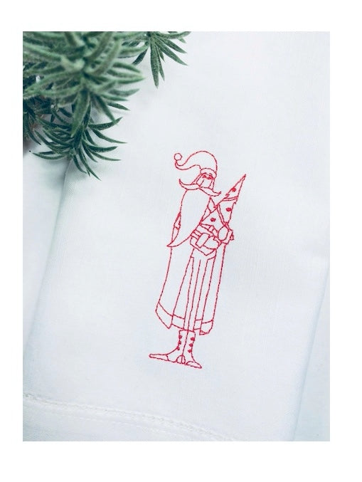 Vintage Santa Claus Victorian Christmas Napkins - Set of 4 napkins-White Tulip Embroidery