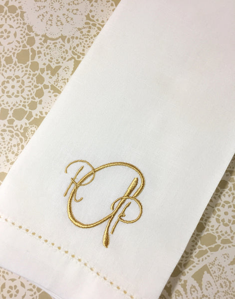 Paris Monogrammed Cloth Dinner Napkins - Set of 4 napkins - White Tulip Embroidery