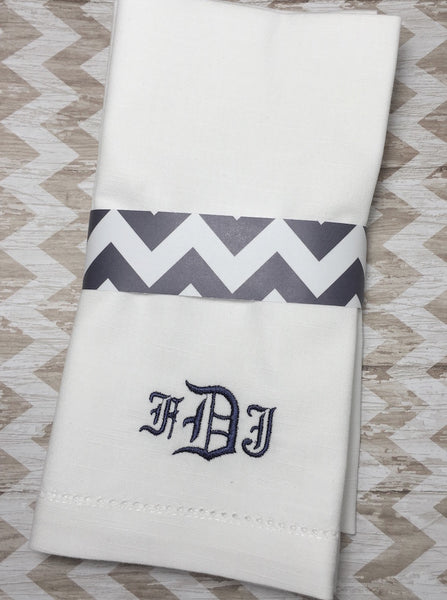 Formal Scroll Monogrammed Embroidered Cloth Dinner Napkins - Set of 4 napkins - White Tulip Embroidery