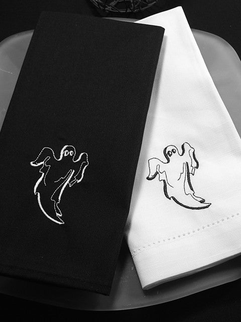 Halloween Ghost Napkins - Set of 4 cloth napkins-White Tulip Embroidery