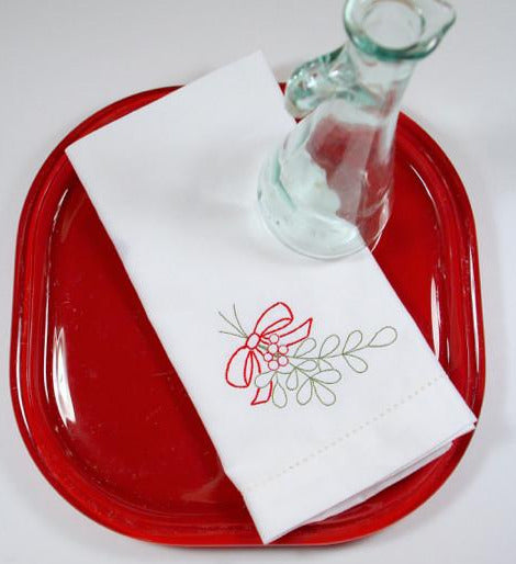 Christmas Holly Cloth Napkins-White Tulip Embroidery