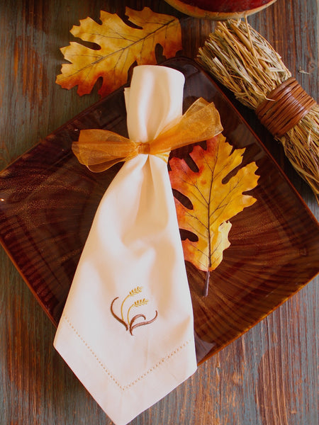 Thanksgiving Wheat Cloth Dinner Napkins - Set of 4 napkins - White Tulip Embroidery