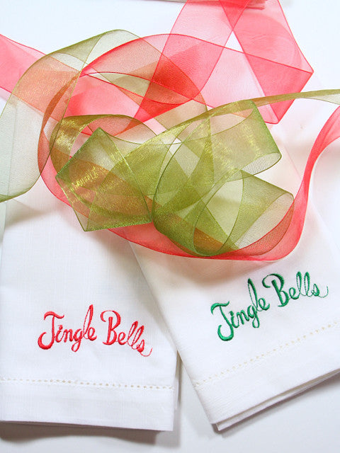 Jingle Bells Christmas Cloth Napkins-Set of 4 napkins - White Tulip Embroidery