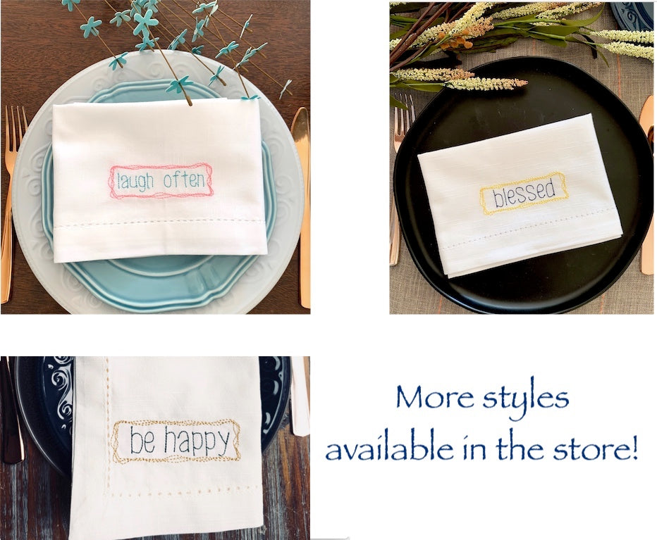 Laugh Often Embroidered Inspirational Cloth Napkins - Set of 4 napkins